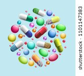 pills and tablets circle.... | Shutterstock .eps vector #1101147383