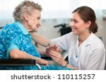senior woman with her caregiver ... | Shutterstock . vector #110115257