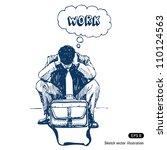 stressed businessman sitting on ... | Shutterstock .eps vector #110124563