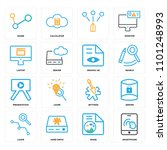 set of 16 icons such as... | Shutterstock .eps vector #1101248993