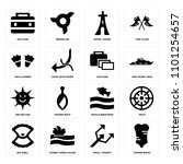set of 16 icons such as women...
