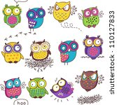 seamless pattern with color owl ... | Shutterstock .eps vector #110127833