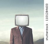 Small photo of surreal addicted man with television on his head