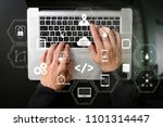 coding software developer work... | Shutterstock . vector #1101314447