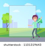 skating teenager and filling... | Shutterstock .eps vector #1101319643