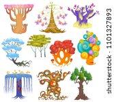 magic tree vector fantasy... | Shutterstock .eps vector #1101327893