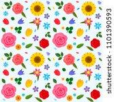 a set of decorative flowers.... | Shutterstock .eps vector #1101390593