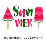red watermelon slices ice cream ... | Shutterstock .eps vector #1101394847
