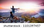 happy couple watching the... | Shutterstock . vector #1101397457