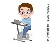 young man doing bike exercises | Shutterstock .eps vector #1101405023