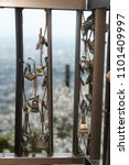 Small photo of Superstition: Padlocks of oath of eternal friendship and love. Iwamotoyama Park, Shizuoka prefecture, Fuji city. Vertical shot.