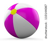 3d pink and white beach ball... | Shutterstock . vector #110144087