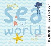 sea world with fish  starfish ...   Shutterstock .eps vector #1101475037