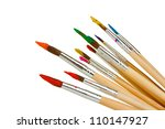 paint brushes with gouache... | Shutterstock . vector #110147927