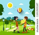 friends in city park. women... | Shutterstock .eps vector #1101505187
