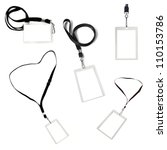 Collection of blank security tags on black lanyards, isolated over white. - stock photo