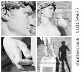 collage with images of sculpture of David by Michelangelo, Florence, Italy, Europe - stock photo