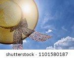 straw hat  blue sky  sunlight   ... | Shutterstock . vector #1101580187