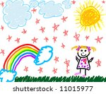 happy child's drawing of herself | Shutterstock . vector #11015977
