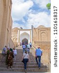 Small photo of Samarkand, Uzbekistan - 30 Apr 2018: Shah-i-Zinda, ancient necropolis. People on famous staircase. If you count equal number of steps up & down - the God absolved your sins.