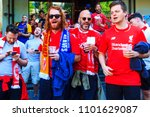 liverpool fans chanting songs... | Shutterstock . vector #1101629087