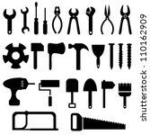 Tools icon set in black - stock vector