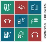 earphones icon. collection of 9 ... | Shutterstock .eps vector #1101650123