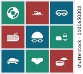 swim icon. collection of 9 swim ... | Shutterstock .eps vector #1101650303