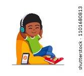 smiling boy kid sitting on bean ...   Shutterstock .eps vector #1101680813