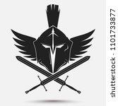 spartan helmet logo with... | Shutterstock . vector #1101733877