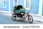 Small photo of A rickshaw in the streets of french colony, Pondicherry (Puducherry), India