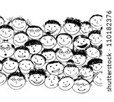 Crowd of funny peoples, seamless background for your design - stock vector