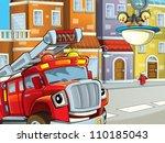 the red hero firetruck guarding ... | Shutterstock . vector #110185043