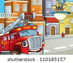 the red firetruck on the... | Shutterstock . vector #110185157