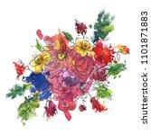 vintage vector floral... | Shutterstock .eps vector #1101871883