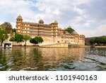 udaipur city at lake pichola in ... | Shutterstock . vector #1101940163