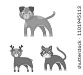 toy animals monochrome icons in ... | Shutterstock .eps vector #1101945113