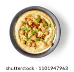 bowl of hummus isolated on... | Shutterstock . vector #1101947963