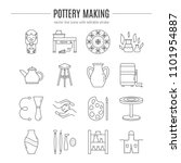 vector pottery and ceramics... | Shutterstock .eps vector #1101954887