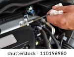 engine oil dipstick - stock photo