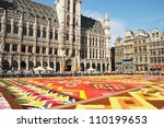 BRUSSELS, BELGIUM-AUGUST 15: The Flower Carpet 2012 with African theme attracted thousands of tourists on August 15, 2012 in Brussels. This biennial public event has different theme every time. - stock photo