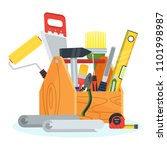repair tools in toolbox. hammer ... | Shutterstock .eps vector #1101998987