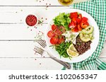 vegetarian buddha bowl with... | Shutterstock . vector #1102065347