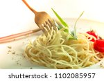 traditional italian pasta with... | Shutterstock . vector #1102085957