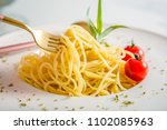 traditional italian pasta with... | Shutterstock . vector #1102085963