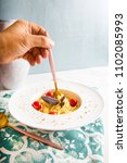 traditional italian pasta with... | Shutterstock . vector #1102085993