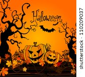 cute halloween illustrated... | Shutterstock . vector #110209037