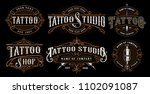 set of vintage tattoo emblems ... | Shutterstock .eps vector #1102091087