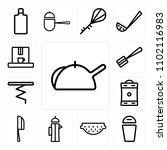 set of 13 icons such as kettle  ...