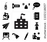 set of 13 icons such as school  ...